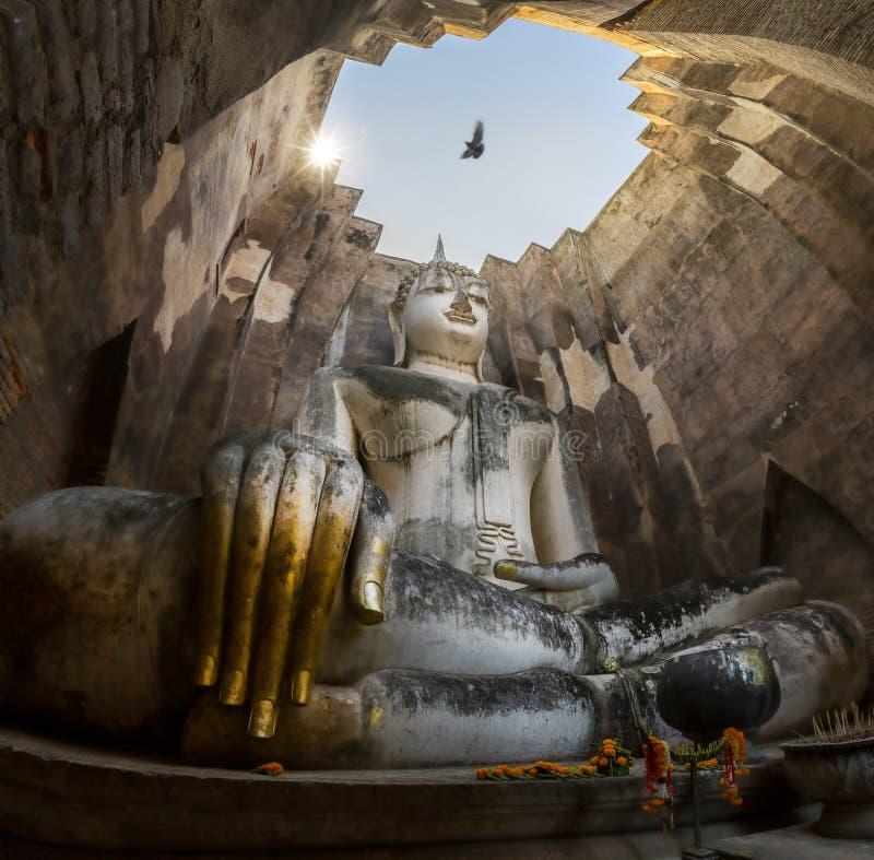 Buddha Statue in Wat Srichum Temple in Sukhothai Historical Park Thailand stock photo