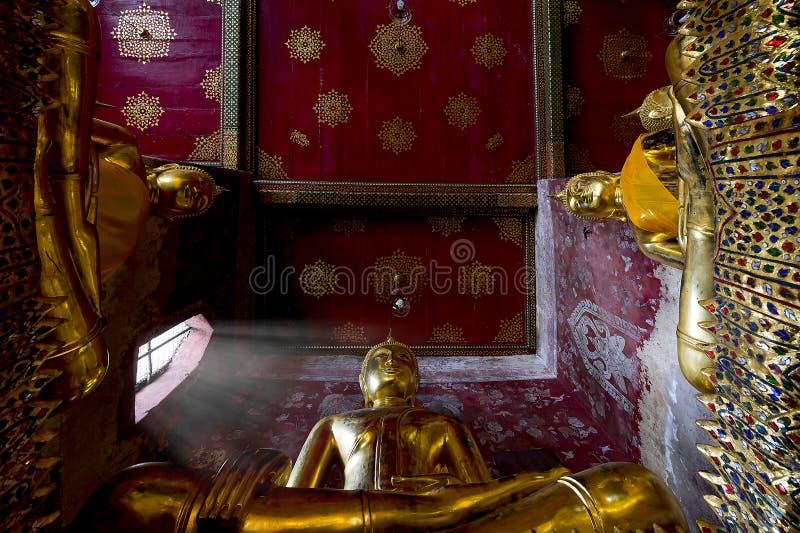 Buddha statue at Wat Suthat, landmark of Bangkok, Thailand. Wat Suthat Thepphaararam is a Buddhist temple in Bangkok, Thailand. It is a royal temple of the stock photos