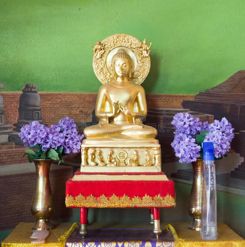 Buddha statue at Wat Thai Bodhigaya ,India royalty free stock images