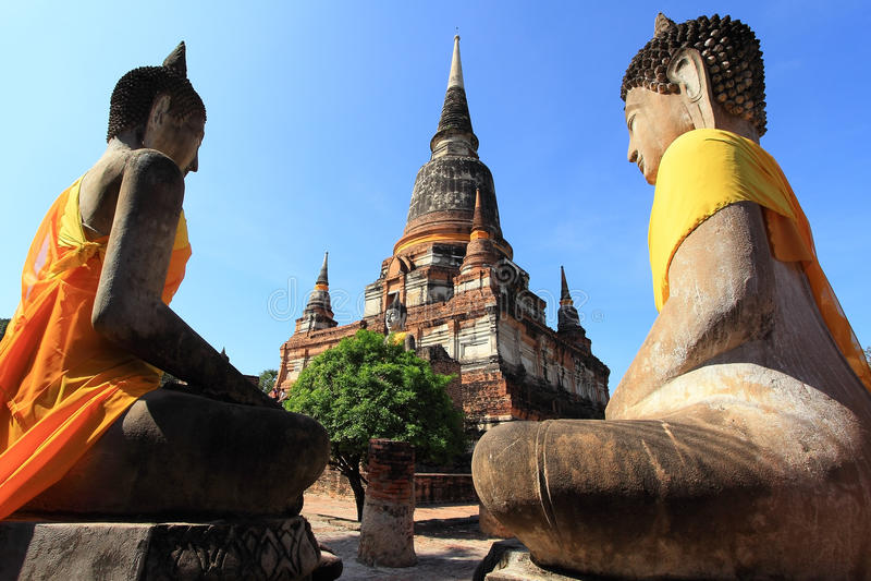 Buddha statue, Wat Yai Chai Mongkol stock photos