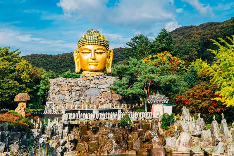 Golden buddha statue in Wawoo Temple, Korea. Buddha statue in Wawoo Temple, Korea stock image