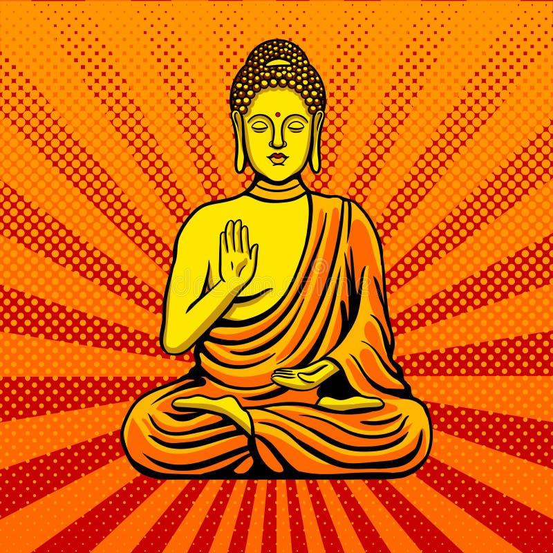 Buddha-Statuenmonumentpop-arten-Artvektor vektor abbildung