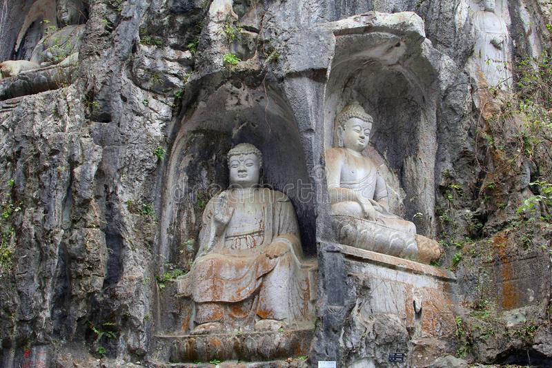 Buddha rock carvings in the Lingyin temple, China stock images