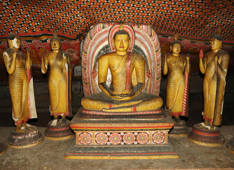 Buddha statues at Dambulla caves,Sri Lanka royalty free stock photo
