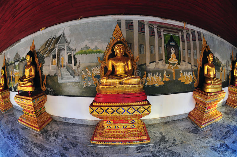 Buddha statues in fisheye view royalty free stock image
