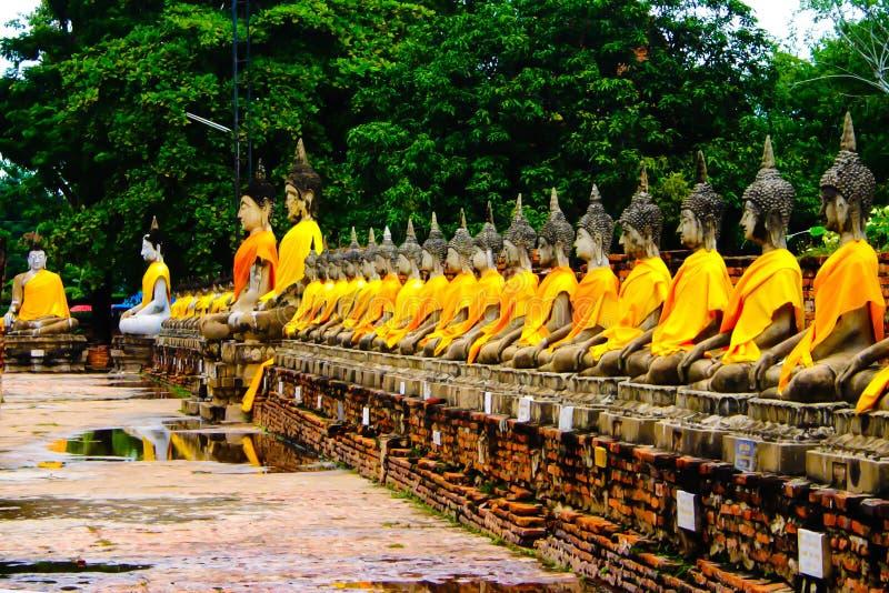 Buddha statues in the temple of Wat Yai Chai Mongkol in Ayutthaya stock image