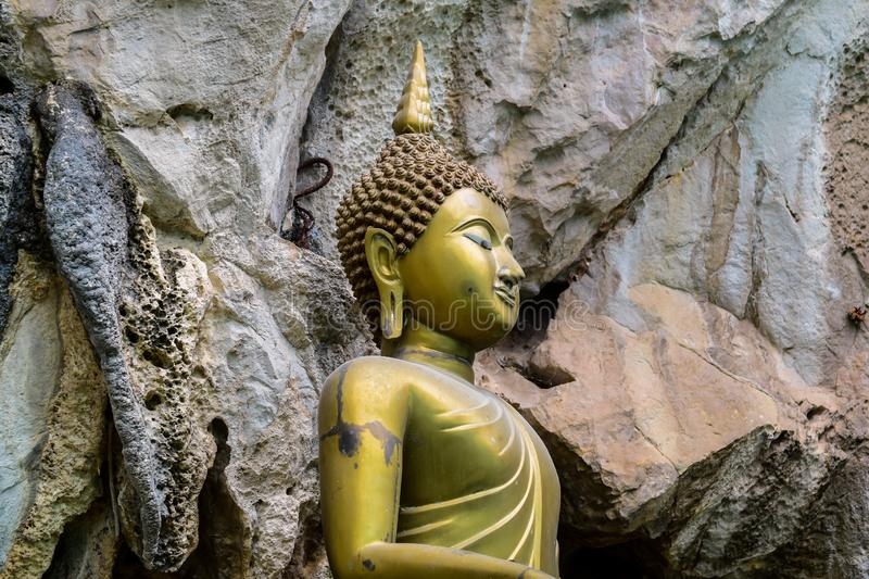 Buddha statues, temples in the mountains, beliefs and spiritual dependencies royalty free stock image