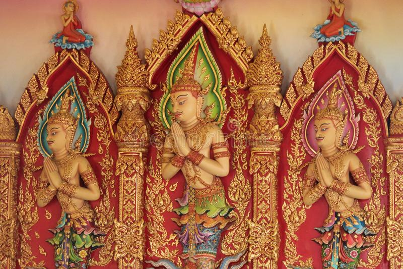 Buddha statues in various postures. Buddha statue that Buddhists respect stock image