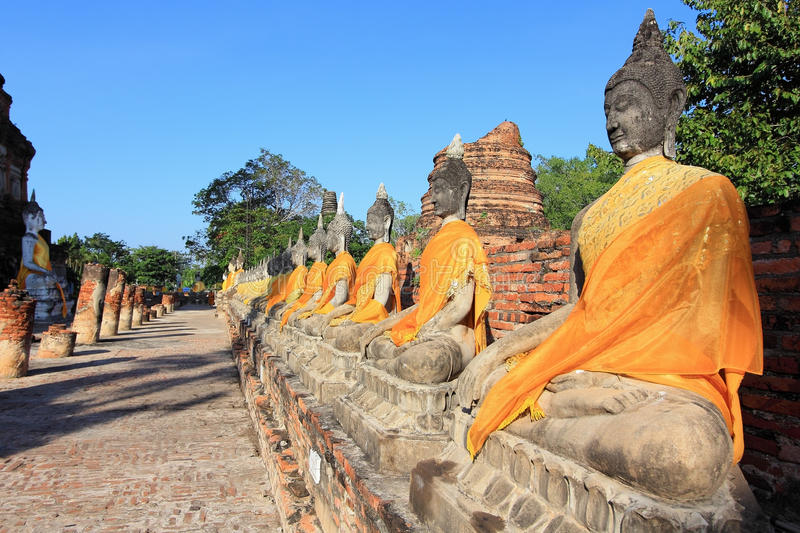 Buddha statues,Wat Yai Chai Mongkol stock photo