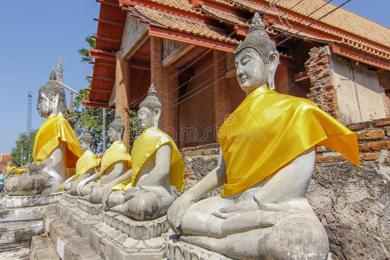 Buddha Status in Ancient old temple at  ayutthaya historical park area thailand. Background, statue, beautiful, head, green, art, face, antique, culture, asian stock images