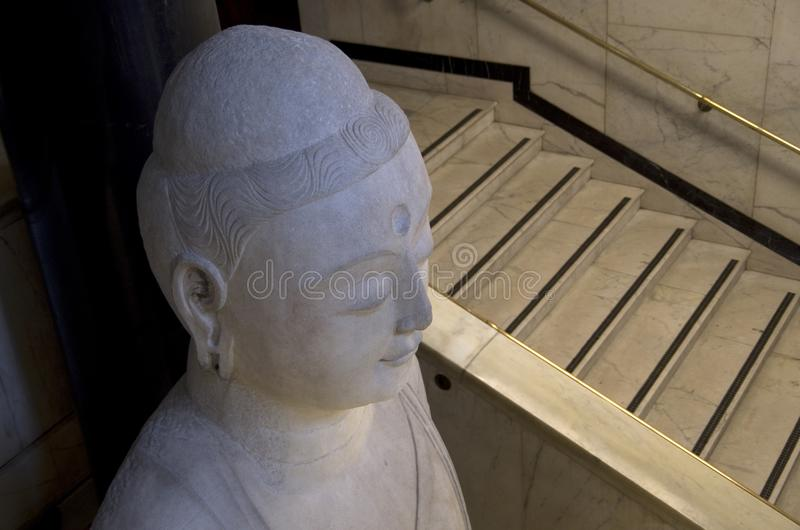 Buddha status in British museum. A big Buddha status displayed in British Museum of London stock photos