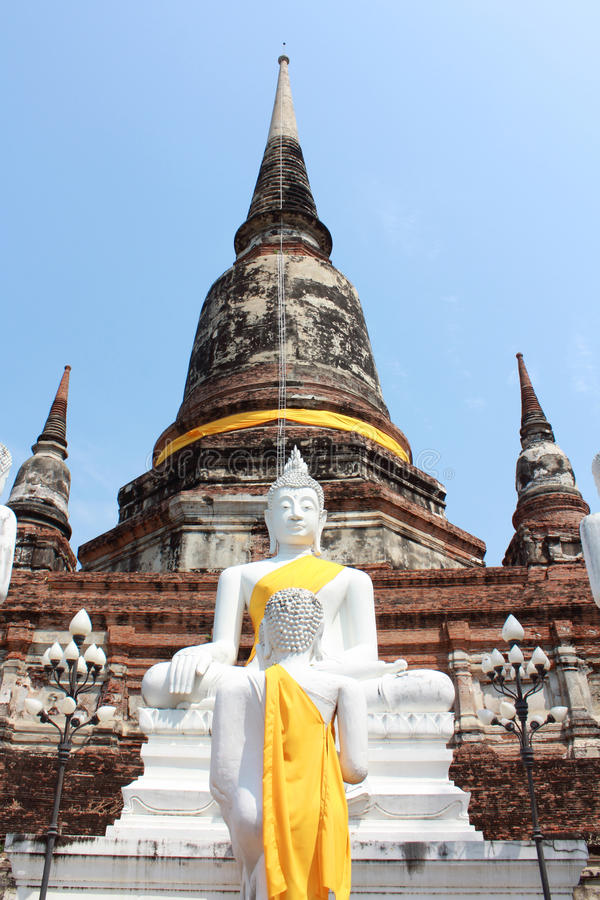 Buddha Status and pagoda, ayutthaya. Buddha Status and the pagoda at wat yai chaimongkol temple, ayutthaya stock photography