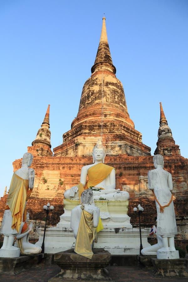 Buddha Status an Pagoda at Wat Yai Chaimongkol, Thailand royalty free stock images