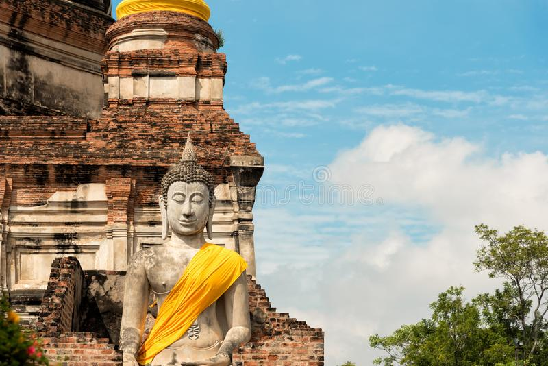 Buddha Status at Wat Yai Chaimongkol. Ayutthaya, Thailand stock photos