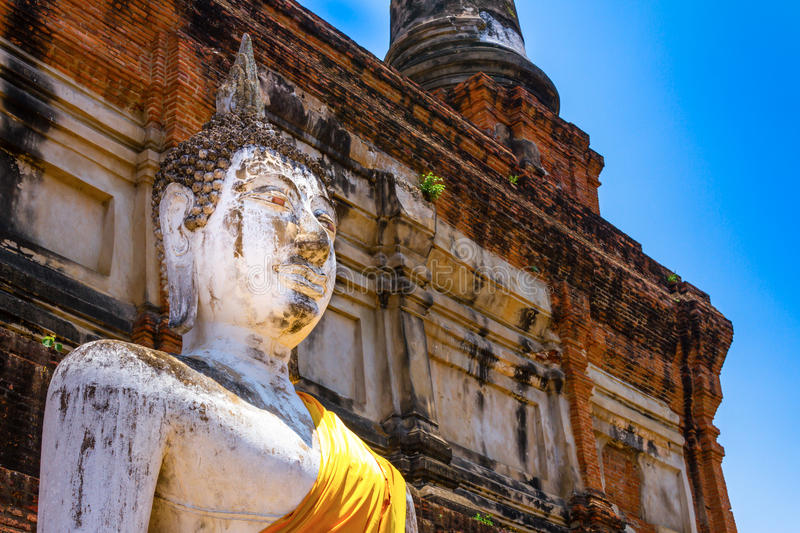 Buddha Status at Wat Yai-Chaimongkol'. Buddhist temple in Ayutthaya - Thailand royalty free stock image