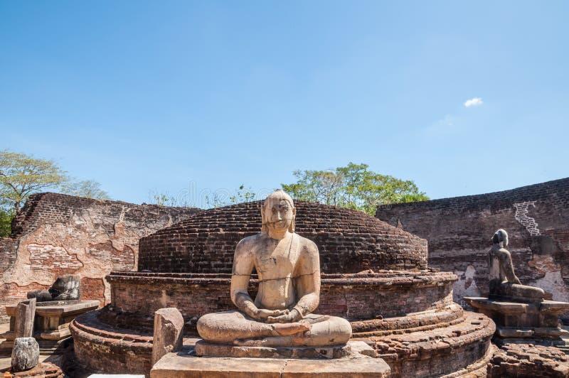 Buddha statuy w Vatadage przy antycznym miastem Polonnaruwa, Sri Lanka. zdjęcia royalty free