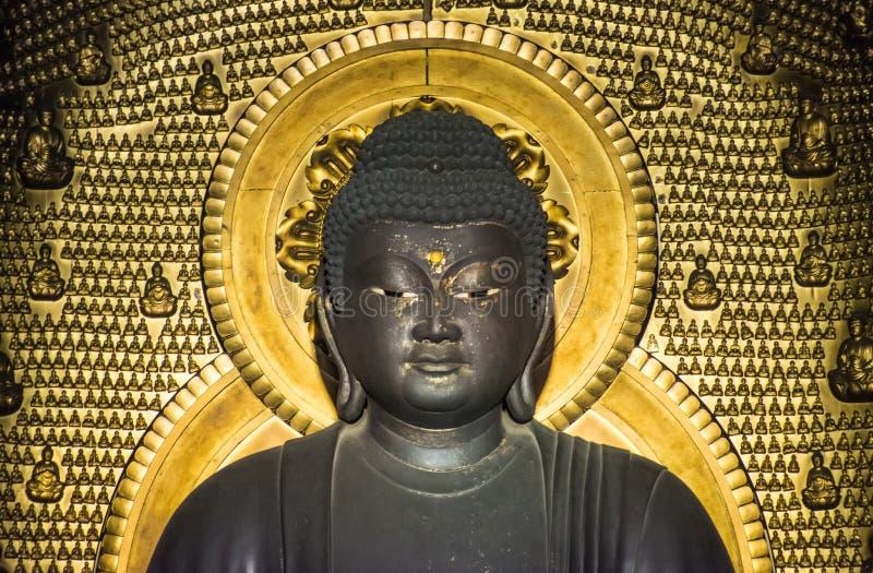 Buddha statuy złoty tło mały Buddhas obrazy stock