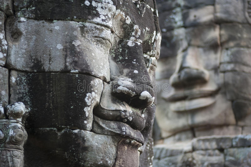 Buddha-Stein-Gesichter an Bayon-Tempel lizenzfreie stockfotos