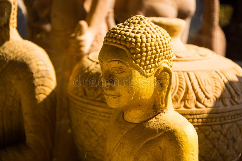 Buddha stone carved from stone. Buddha stone which has a variety of style to be displayed on the outside By these statues carved from stone royalty free stock photography