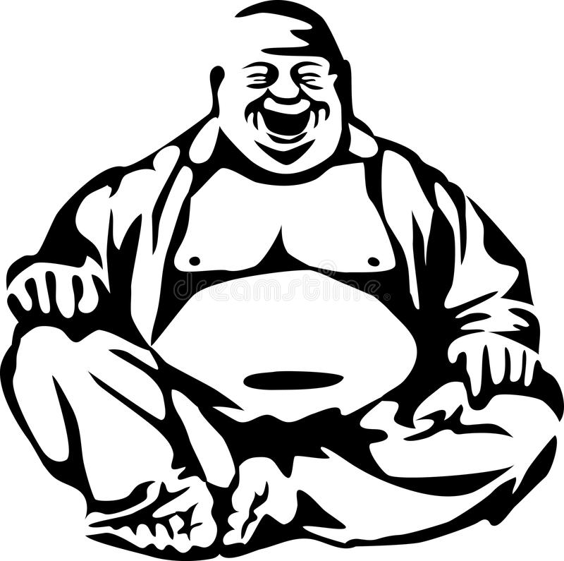 Buddha. Stylized laughing buddha - black and white illustration