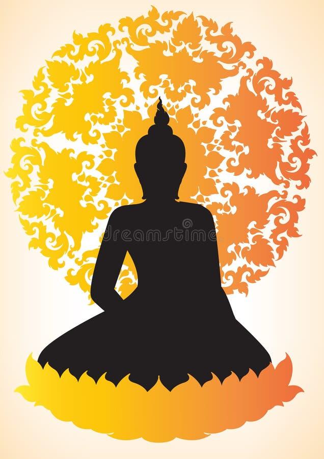 Buddha sylwetka royalty ilustracja