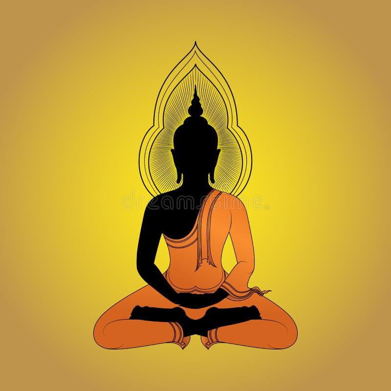 Buddha sylwetka przeciw złocistemu tłu royalty ilustracja