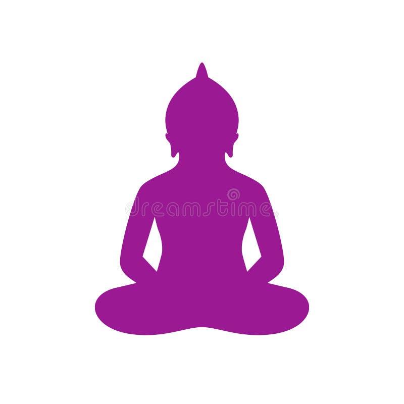 Buddha sylwetka w lotos pozy wektoru ikonie ilustracji