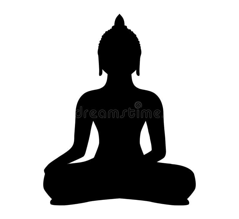 Buddha, sylwetka, wektor, cień, czerń, buddhism, medytuje ilustracja wektor