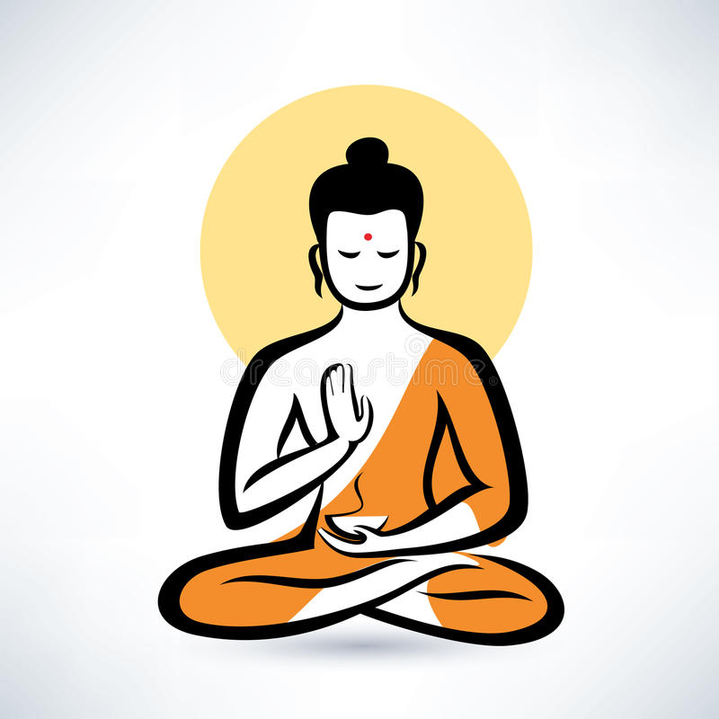 Buddha symbol. Buddha isolated symbol, meditation concept vector illustration