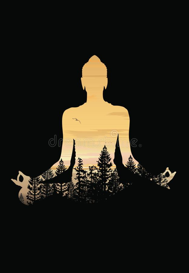 Buddha tła wektor, Buddha i natura, medytaci tło ilustracja wektor