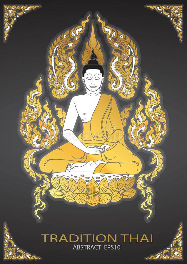 Buddha thai tradition vector royalty free illustration