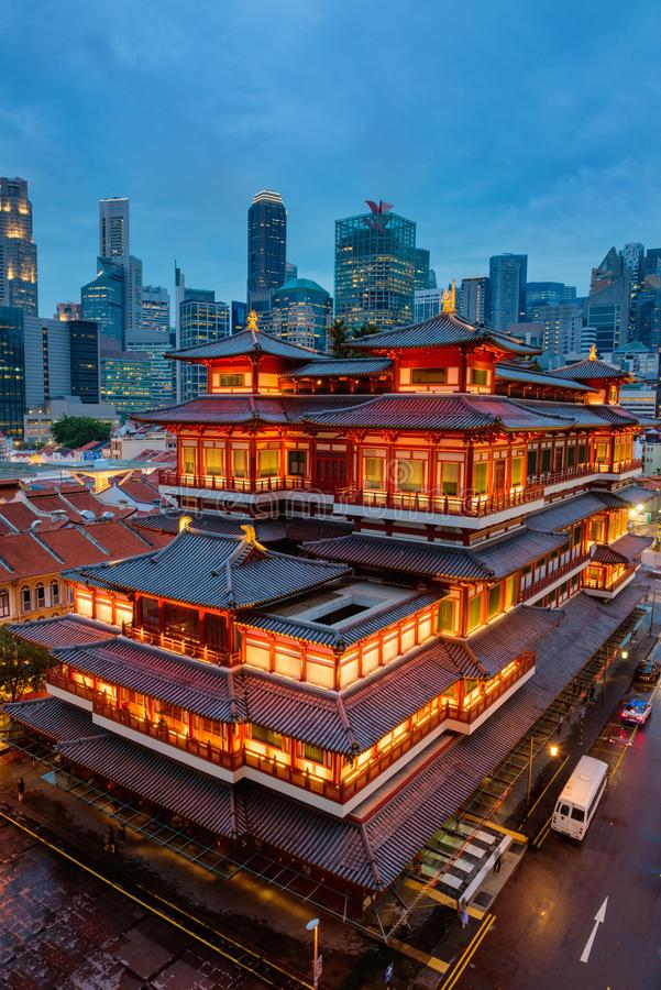 Buddha Toothe Relic Temple in Chinatown at Singapore, Cityscape royalty free stock image