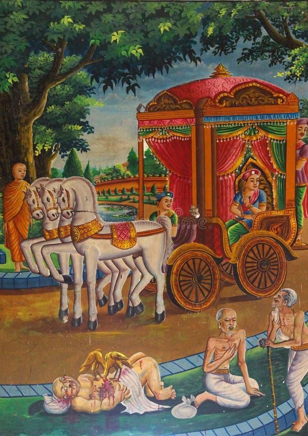 Buddha trifft Krankheit, hohes Alter und Tod an stockbild