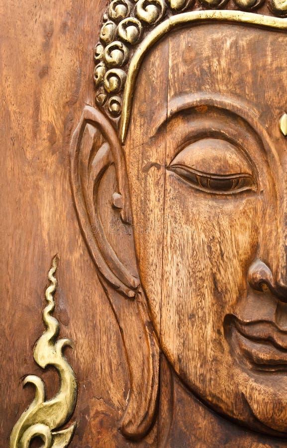 buddha twarz robić stylowy tekowy tajlandzki drewno fotografia royalty free
