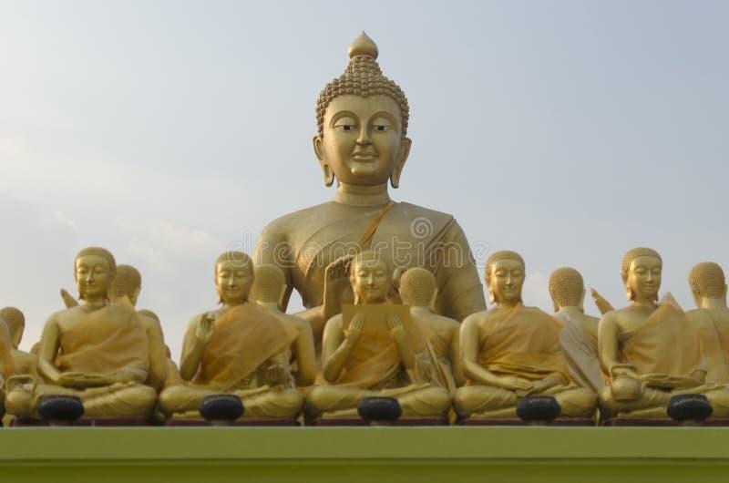 Buddha und Schüler stockbild