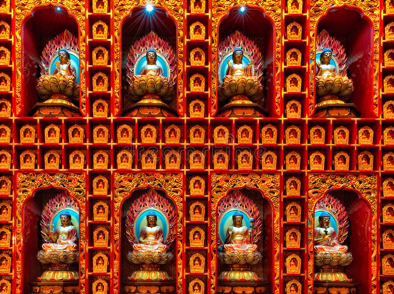 Download Buddha vägg fotografering för bildbyråer. Bild av rött - 19784393