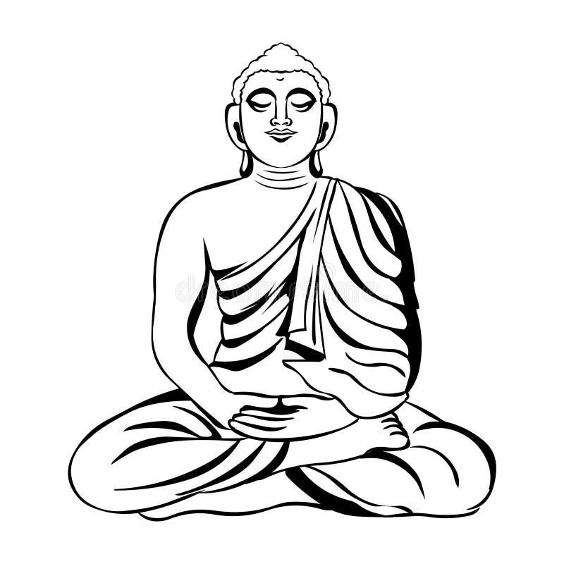Buddha vector illustration.Black and white line art of meditating stock illustration