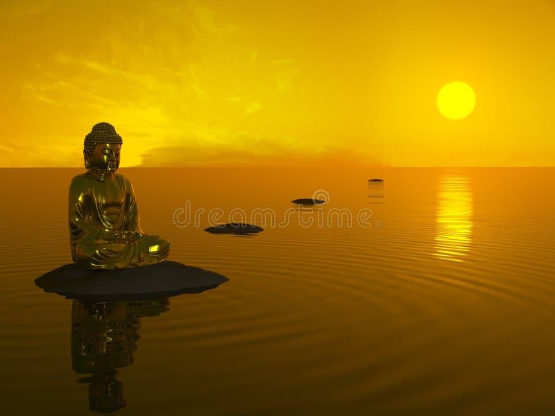 Buddha vor Sonnenuntergang. stockfoto