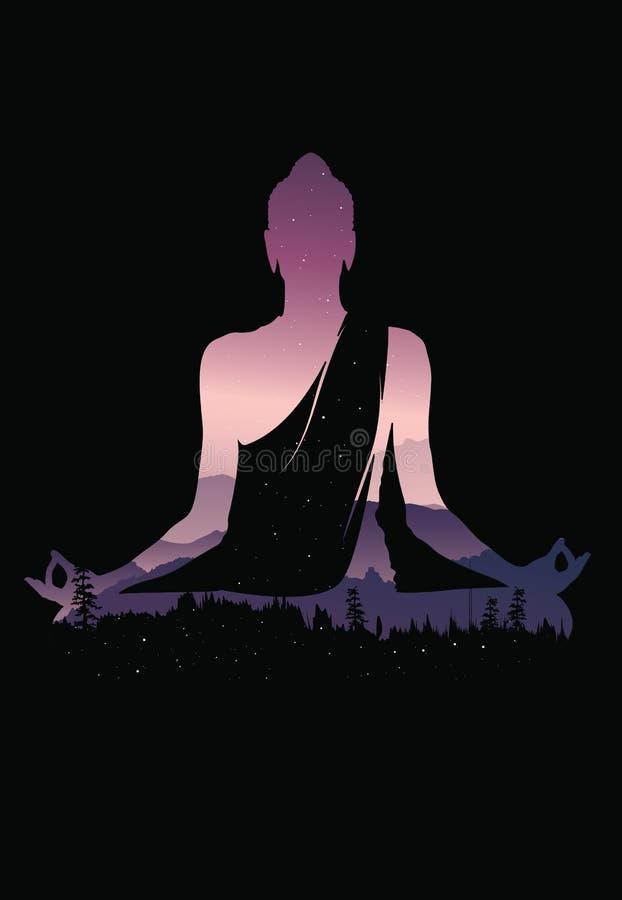 Buddha wektor, Abstrakcjonistyczny Buddha na czarnym tle, Buddha i natura, medytaci tło ilustracji