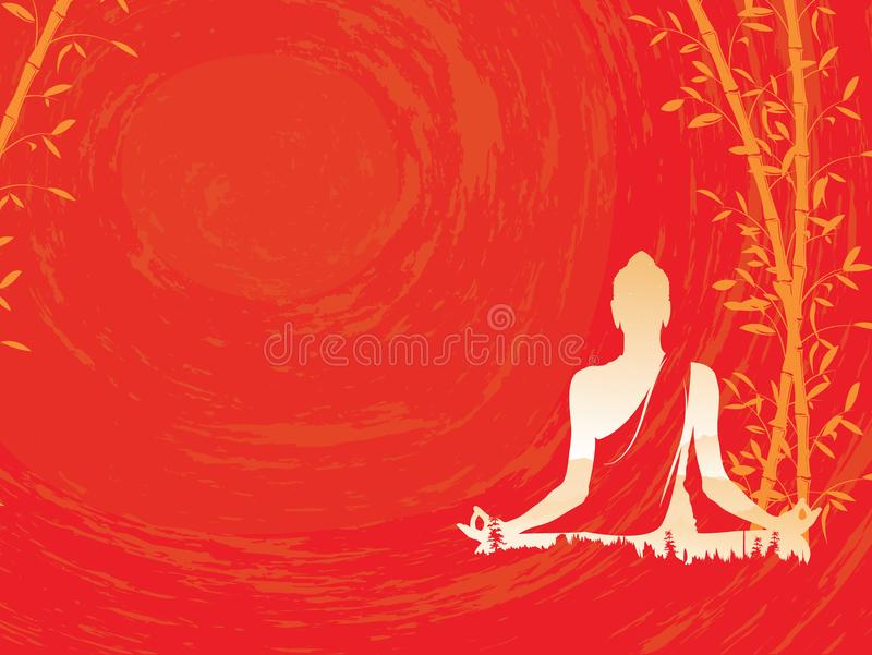 Buddha wektor, Abstrakcjonistyczny Buddha z bambusem na czerwonym tle, Buddha i natura, medytacja ilustracji