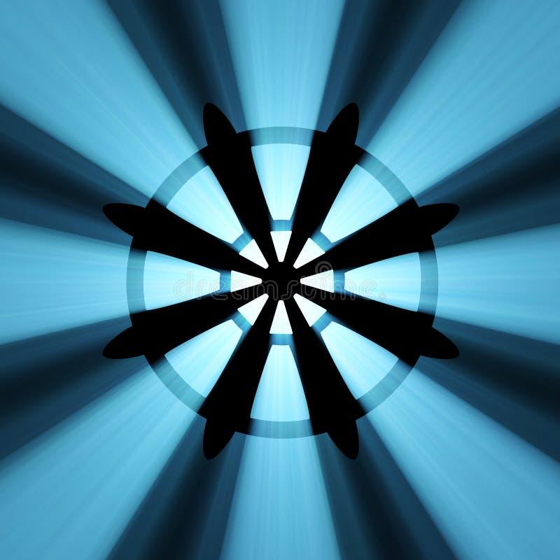 Buddhism Wheel Symbol Light Flare Royalty Free Stock Image