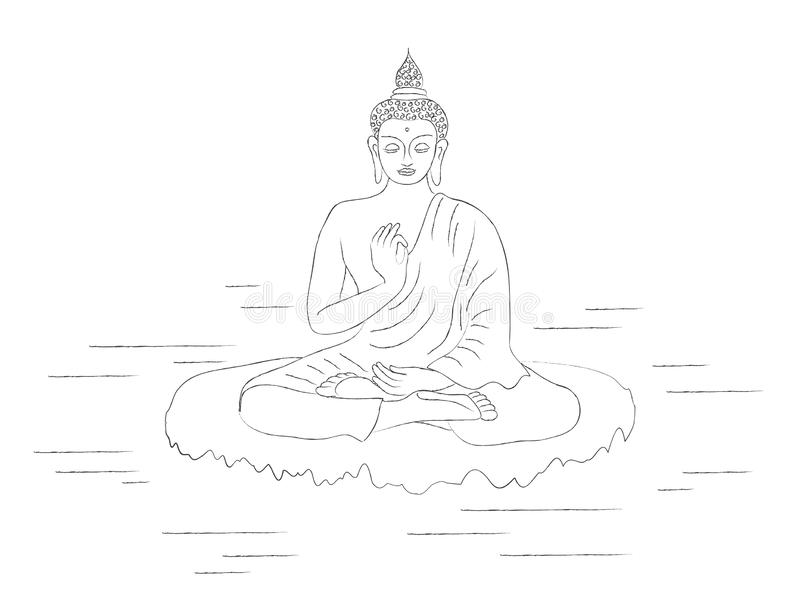 Buddha on a white background. royalty free illustration