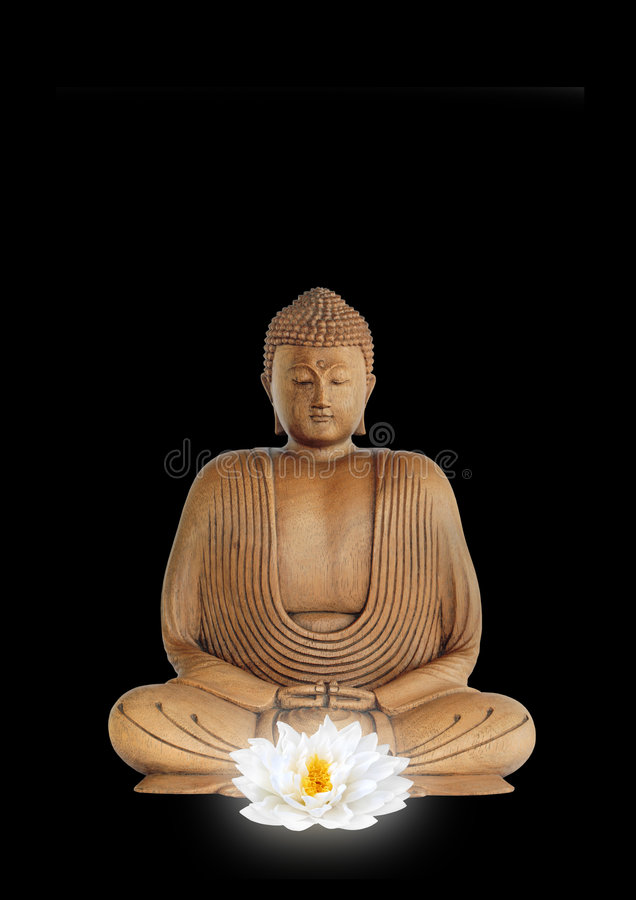 Buddha and White Lotus Flower royalty free stock images