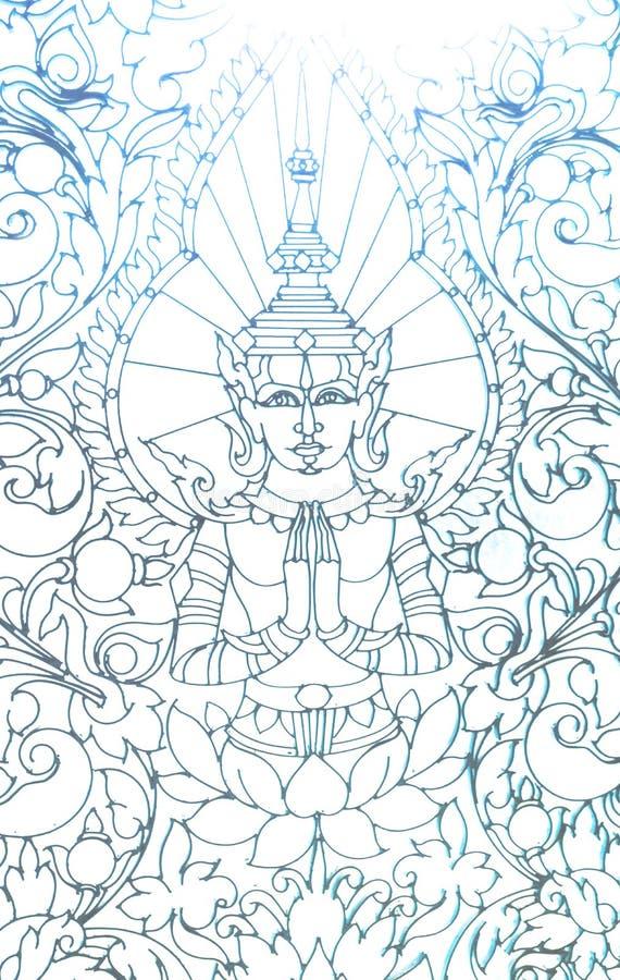 Buddha. Window ornament in a temple in phnom penh stock illustration