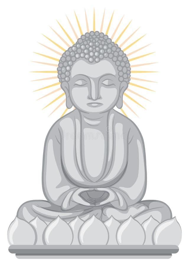 Buddha wizerunek na białym tle royalty ilustracja