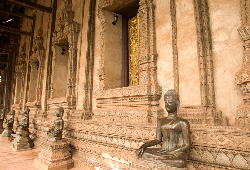Buddha wizerunek w Wacie Phra Keo w Vientiane Ho obrazy stock