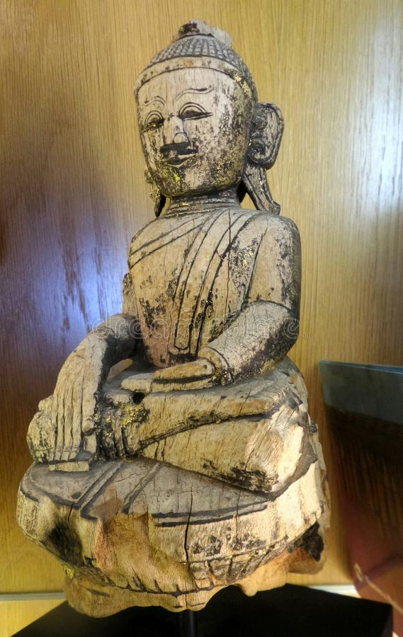 Buddha wooden sculpture royalty free stock photo