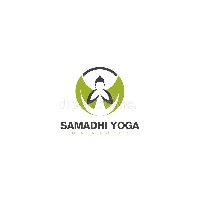 Buddha Yoga with Leaf Logo Design royalty free illustration