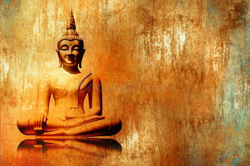 Buddhabild i lotusblommaposition i orange guld- målningstil för grunge - meditationbakgrund stock illustrationer