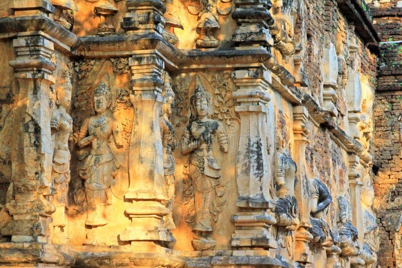 Buddhabild på Wat Jed Yod, Chiang Mai, Thailand arkivbild